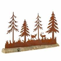 Sylwetka lasu ze zwierzętami stal nierdzewna na drewnianej podstawie 30cm x 19cm
