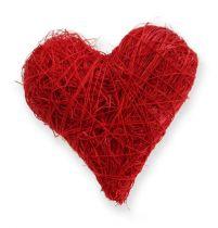 Sizalowe serca 5-6 cm czerwone 24szt