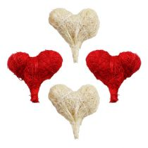 Sizalowe serca 5cm czerwony / biały 12szt