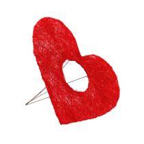 Mankiet sizalowy serce czerwony 15cm 10szt.