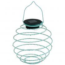 Słoneczna lampa ogrodowa turkusowa 22 cm z 25LED ciepłobiałymi