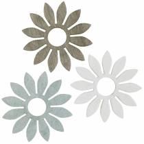 Kwiaty letnie dekoracja drewniana kwiaty brązowe, jasnoszare, białe dekoracja rozproszona 72szt.