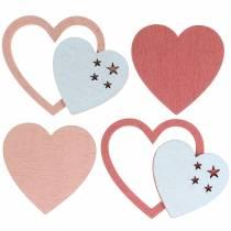 Scatter deco hearts różowy/biały 24szt.