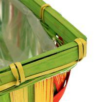 Zestaw koszyków na klapsy kanciaste różnokolorowe 12szt 20cm x 11cm