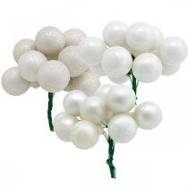 Mini Christmas Ball White Marbled Assorted Mirror Berries Ø25mm 140szt