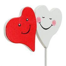 Korek podwójne serce czerwony, biały 8cm x 5cm 12szt.
