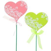 Korek serce różowy, zielony 8,5cm x 7,5cm 12szt.