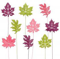 Korek dekoracyjny liść różowy, zielony, bordowy 8cm 18szt.