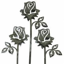 Szpilka metalowa róża srebrno-szara, metal biały płukany 20cm x 8cm 12szt.