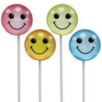 Deco emotikony na patyku różne kolory 3,5cm 8szt.