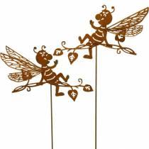 Korek ogrodowy rust bee 34,5×14cm metalowa dekoracja ogrodowa 4szt.