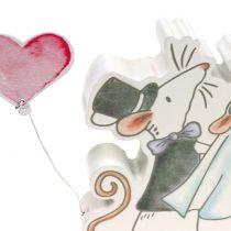 Figurka dekoracyjna para myszek z serduszkami 11cm x 11cm 4szt.