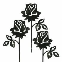Szpilka metalowa róża srebrno-szara, metal biały płukany 20cm x 11,5cm 8szt.