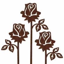 Korek metalowy róża rdzawy metal 20cm x 8cm 12szt.