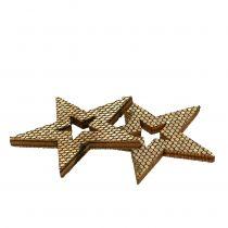 Gwiazda drewniana złota dekoracja rozproszona 4cm 48szt.