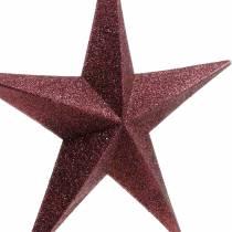 Brokatowa gwiazda do powieszenia w kolorze bordowym Ø30cm