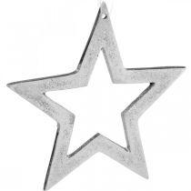 Wisząca Gwiazda Srebrna Aluminiowa Dekoracja Bożonarodzeniowa 15,5×15cm