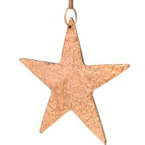 Dekoracyjna gwiazda do zawieszenia, dekoracja adwentowa, metalowa zawieszka kolor miedziany 12×13cm 3szt.
