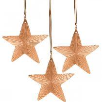 Gwiazda zawieszka, dekoracja świąteczna, dekoracja metalowa kolor miedziany 9,5×9,5cm 3szt.