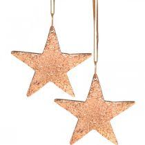 Miedziana gwiazda do zawieszenia, ozdoba choinkowa, metalowa zawieszka 8×9cm 2szt.