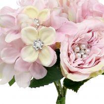 Bukiet różowy z perełkami 29cm