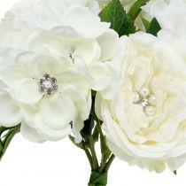 Bukiet Deco Biały z Perłami i Kamieniami 29cm
