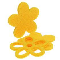 Dekoracja rozproszona filcowy kwiat żółty asortyment 4cm 72szt.