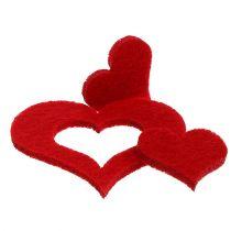 Dekoracja rozproszona Serca Filc 2,5cm - 5cm Czerwony 24szt