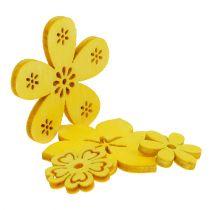 Dekoracja rozproszona drewniany kwiat żółty 2cm - 4cm 96p