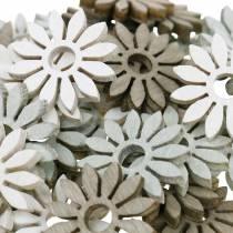 Scatter dekoracja kwiat brązowy, jasnoszary, biały drewniane kwiaty do rozrzucania 144szt.