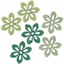 Scatter dekoracja kwiat zielony, jasnozielony, miętowy drewniane kwiaty do rozrzucenia 144St