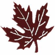 Dekoracja rozproszona jesienne liście filc bordowy/kremowy/zielony 72szt.
