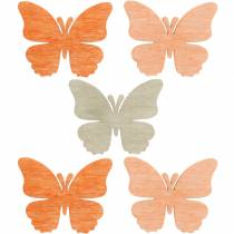 Scatter decoration butterfly drewniane motyle letnia dekoracja pomarańczowy, morelowy, brązowy 144szt.