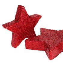 Dekoracja rozproszona gwiazdki czerwone, mika 4-5cm 40szt.