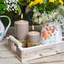Pure Pillar Candle Brown 90/60 Natural Wax Candle Sustainable Stearin Rape Candle Decoration