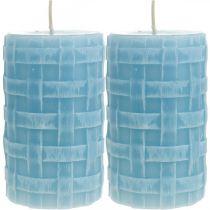 Świece woskowe Koszyczek wzór, świece filarowe, świece Rustic Light blue 110/65 2szt.