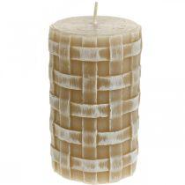 Świece woskowe Rustykalne, świece filarowe Brązowe, świece wiklinowe 110/65 2szt.