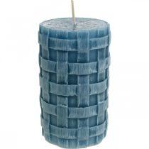 Świece filarowe niebieskie, świece woskowe rustykalne, świece z motywem splotu 110/65 2szt.
