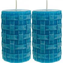 Świece filarowe Rustic, świece koszyczek wzór, świece woskowe turkus 110/65 2szt.