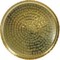 Metalowa taca okrągła, talerz dekoracyjny Złoty, dekoracja orientalna Ø30cm