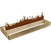 Taca dekoracyjna wielkanocna łąka, dekoracja wiosenna, taca drewniana stal nierdzewna 35×15cm