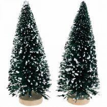 Deco jodła ośnieżona, dekoracja świąteczna, adwentowa H13cm Ø5,5cm 2szt.