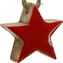 Drewniane gwiazdki na choinkę czerwone, dekoracje przyrodnicze gwiazdki 5cm 24szt.