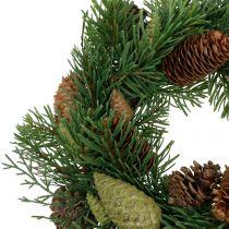 Wieniec jodłowy z szyszkami zielony Ø30cm