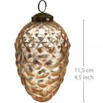 Zawieszka szyszka jodłowa, ozdoba choinkowa, dekoracja jesienna prawdziwe szkło, antyczny wygląd Ø7cm H11,5cm 6szt.