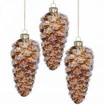 Stożek jodły ze śniegiem, dekoracja świąteczna, ozdoba choinkowa brązowa H13cm Ø6cm Prawdziwe szkło 3szt.