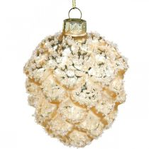 Szyszki wiszące, ozdoby choinkowe, śnieżne szyszki dekoracyjne Złote H9,5cm Ø8cm prawdziwe szkło 3szt.