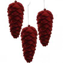 Jesienna dekoracja szyszek, dekoracja adwentowa, flokowana szyszka jodłowa czerwona H13cm Ø6cm 6S