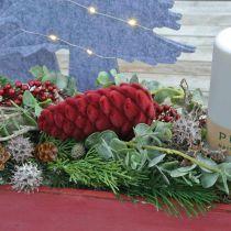 Jesienny Stożek Zawieszka Dekoracyjna, Dekoracja Adwentowa, Stożek Jodłowy Flokowany Czerwony H13cm Ø6cm 6S