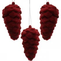 Szyszki dekoracyjne flokowane, dekoracja jesienna, szyszka jodłowa czerwona, adwentowa H8,5cm Ø4,5cm 8szt.